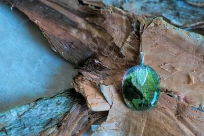 Beautiful green fused glass pendant
