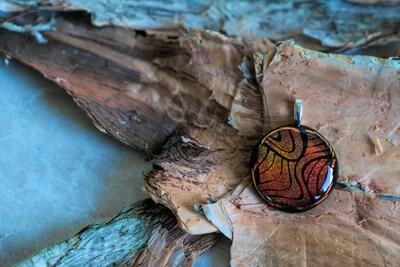 Beautiful copper tones dichroic fused glass pendant
