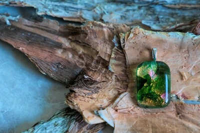 Beautiful green with pink tones dichroic fused glass pendant