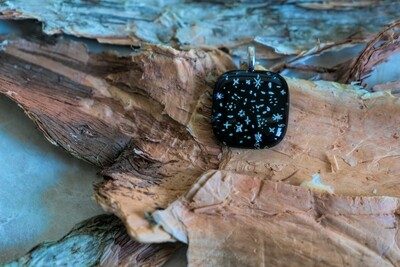 Black with silver stars fused glass pendant