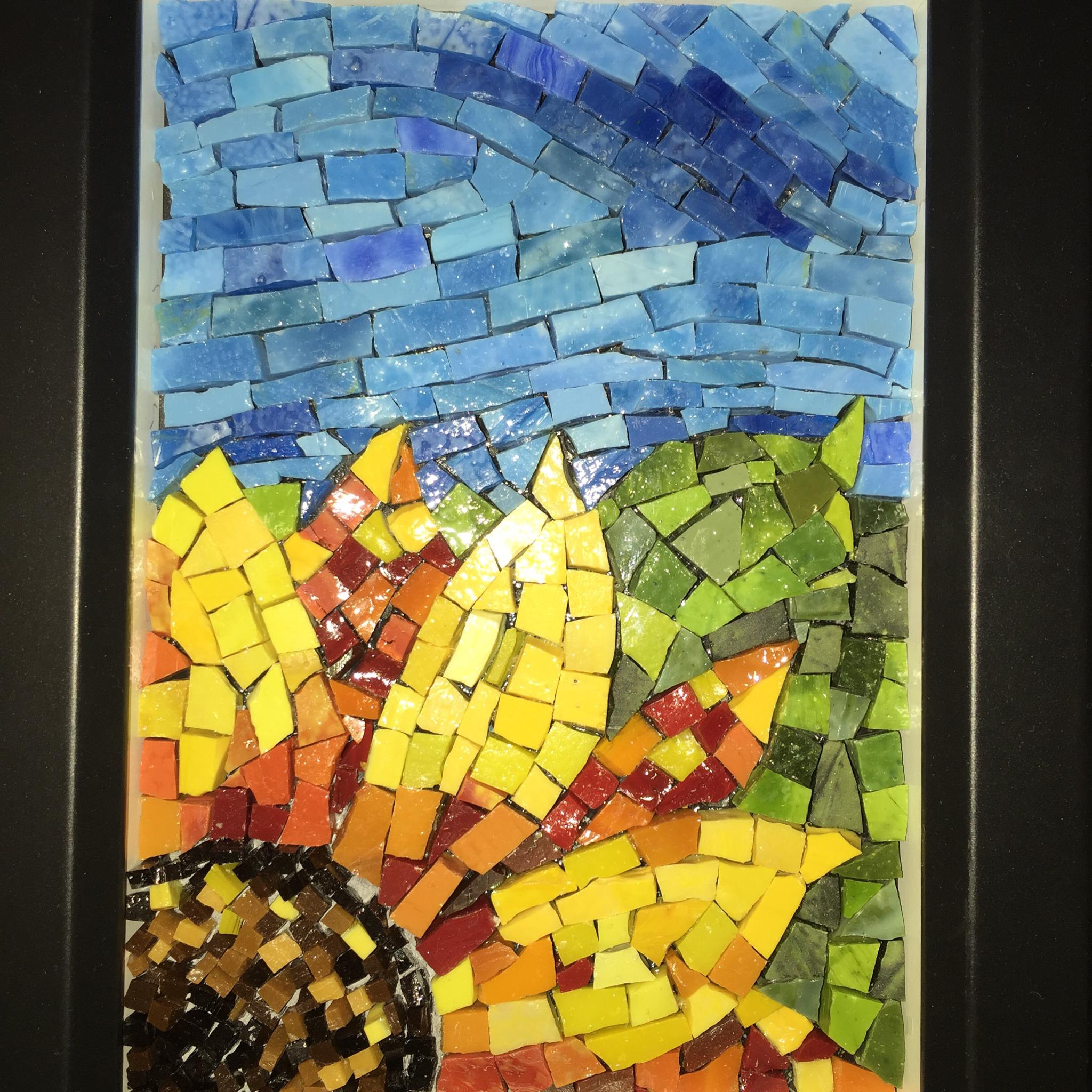 Beautiful Smalti sunflower mosaic 00028