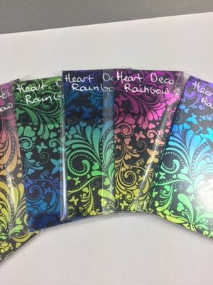 Dichroic Fusing Glass- Heart Deco on black - Rainbow A - COE 96 100mm x 50mm