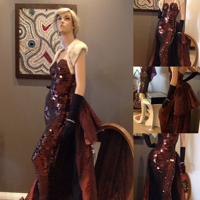 ChocolaArt mosaic sculptured dress $200 donation to Back to Nature Wildlife Shelter