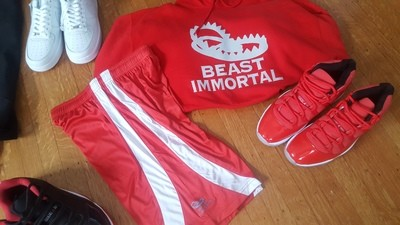 Beast Immortal red shorts