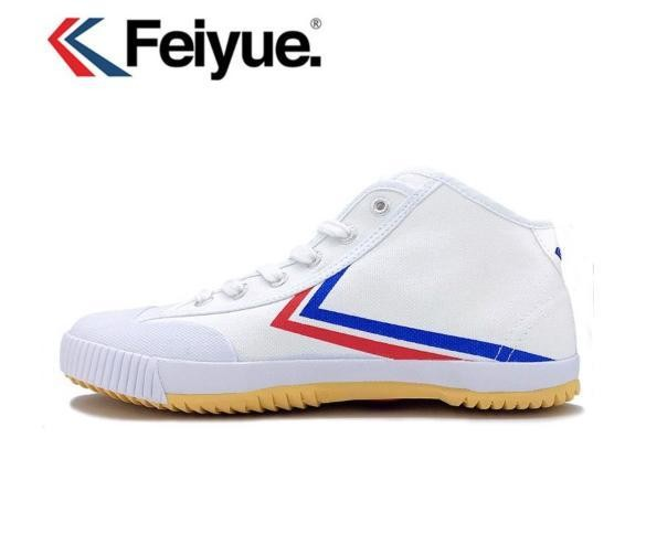 501 Classic Feiyue White Hi Sneaker Boot Rubber tip with Stripes