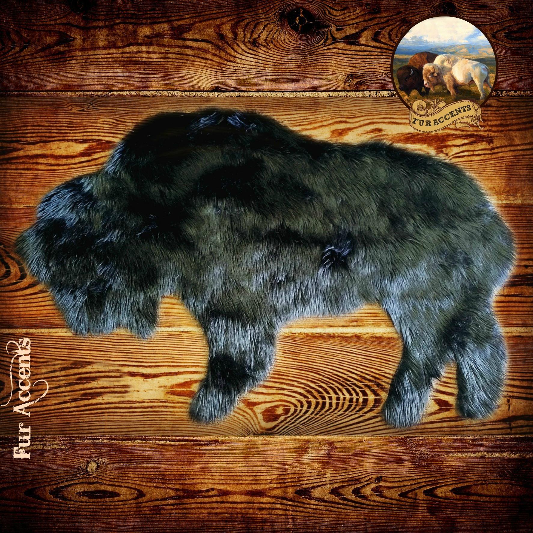 Fur Accents Faux Fur Standing Buffalo
