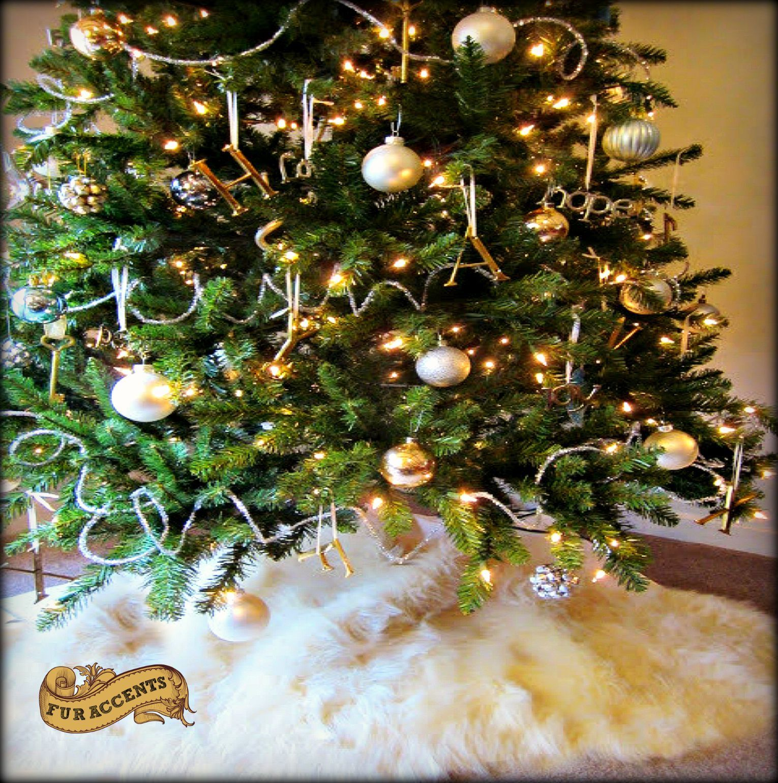 Designer Faux Fur Shaggy White Christmas Tree Skirt
