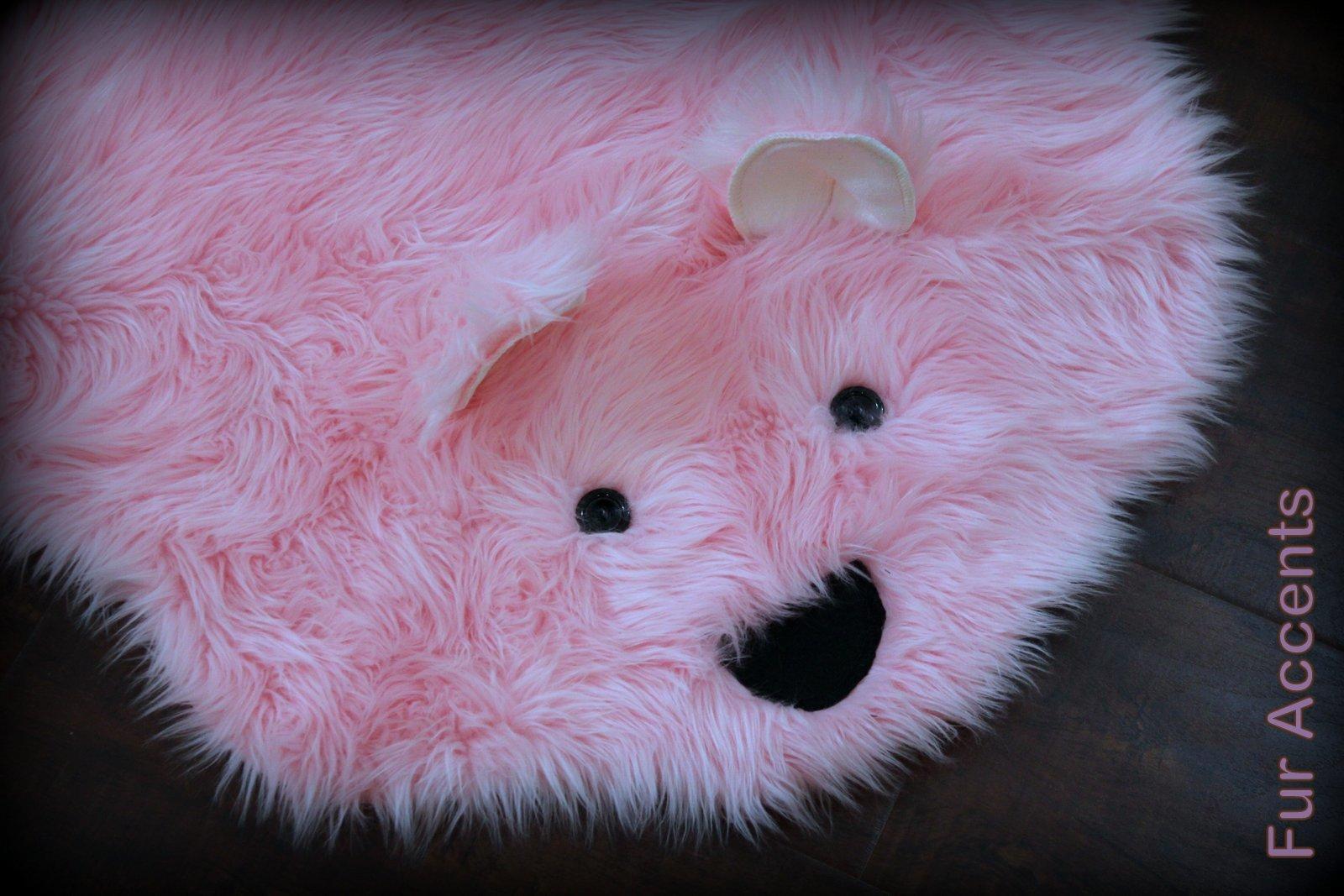Faux Bearskin Rug Sale Fur Accents Faux Fur Pink Teddy Bear Nursery Rug Bearskin