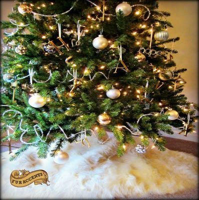 designer faux fur shaggy white christmas tree skirt soft and fluffy plush faux snow - White Christmas Tree Skirts