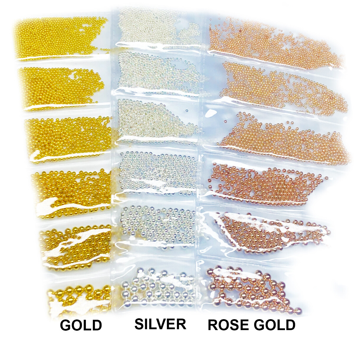 GOLD, SILVER AND ROSE GOLD NAIL ART BEADS 3 PACKS