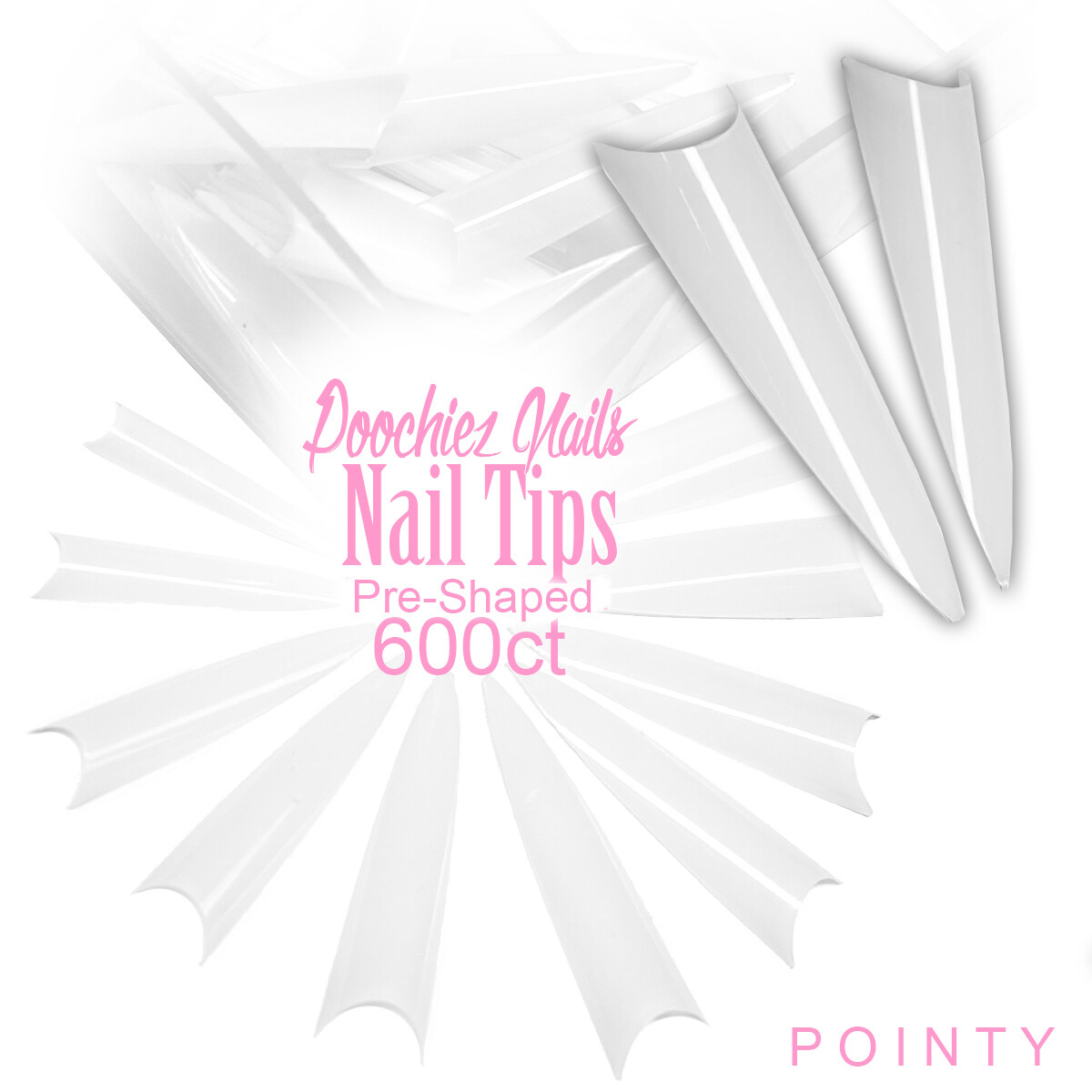 D1 POINTY NAIL TIPS 600ct + IN BAG SIZES 0-9