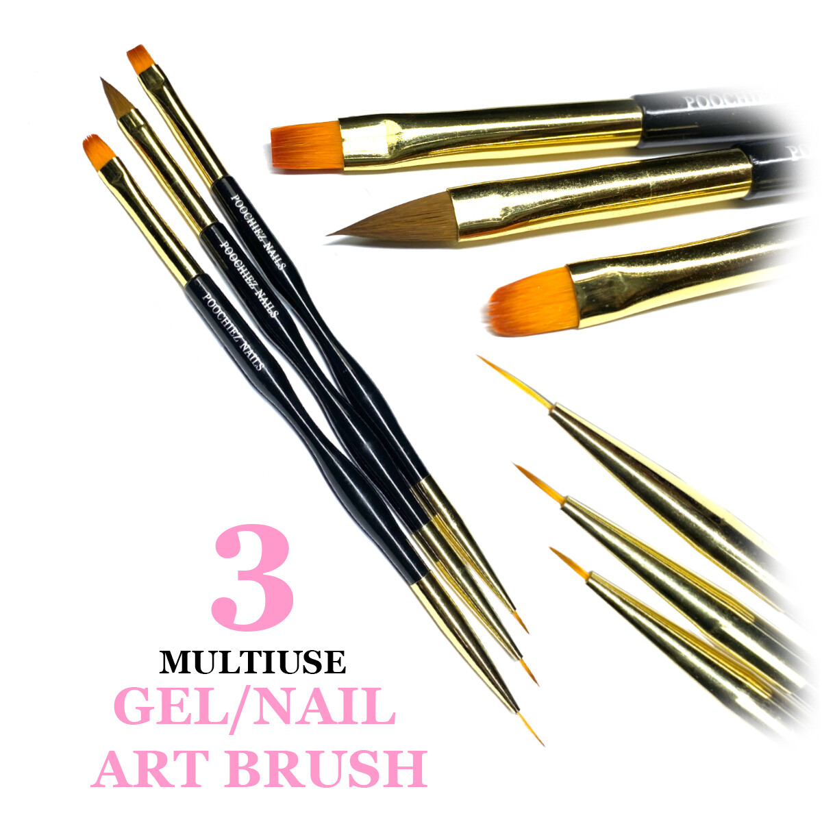 GEL BRUSH/ NAIL ART BRUSH 3pack