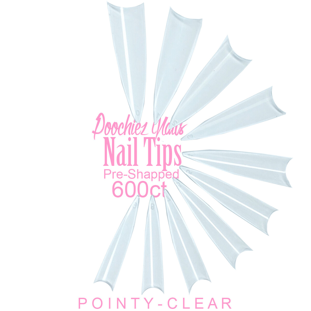 D1 POINTY NAIL TIPS 600ct + TIP BOX  SIZES 0-9
