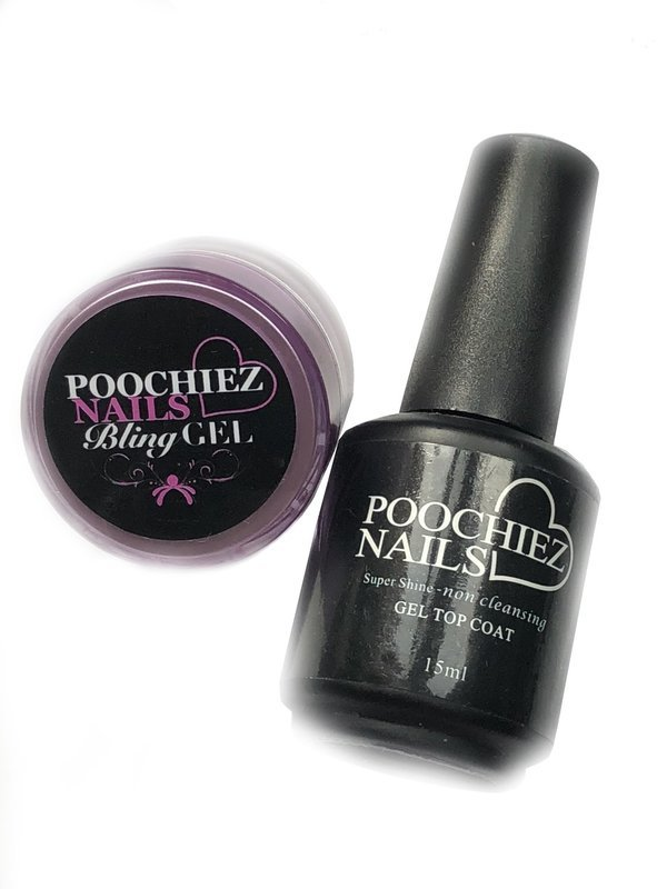 POOCHIEZ NAILS BLING GEL 10ml & TOP COAT (MUST WATCH VIDEO FOR DIRECTIONS)