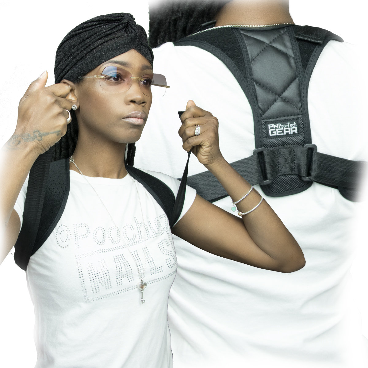 PN BACK/ POSTURE SUPPORT FITS SMALL-XXL STRAPS ARE ADJUSTABLE.