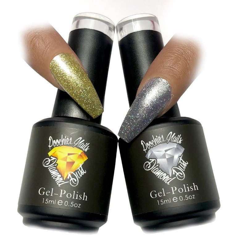 DIAMOND DUST GEL POLISH 2 PACK GOLD & SILVER