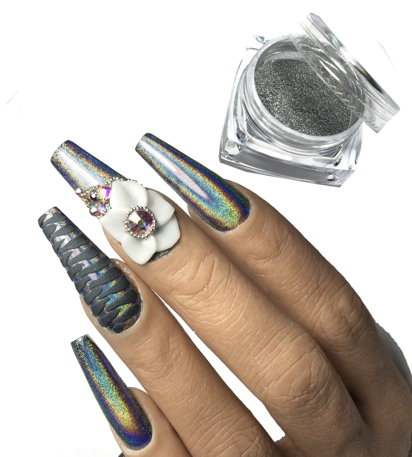 ITEM #106 NEW ELECTRIC HOLO-GLAM 1g. ATTENTION TOP COAT CAN ONLY BE CURED FOR 8-10 SECS BEFORE APPLICATION. PLEASE READ DIRECTIONS.