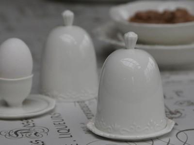 Provence æggebæger m. låg 100% porcelæn