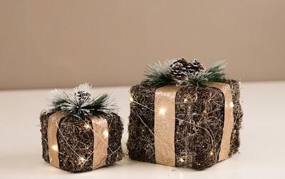 Led gaver m. guldbånd sæt af 2 stk.