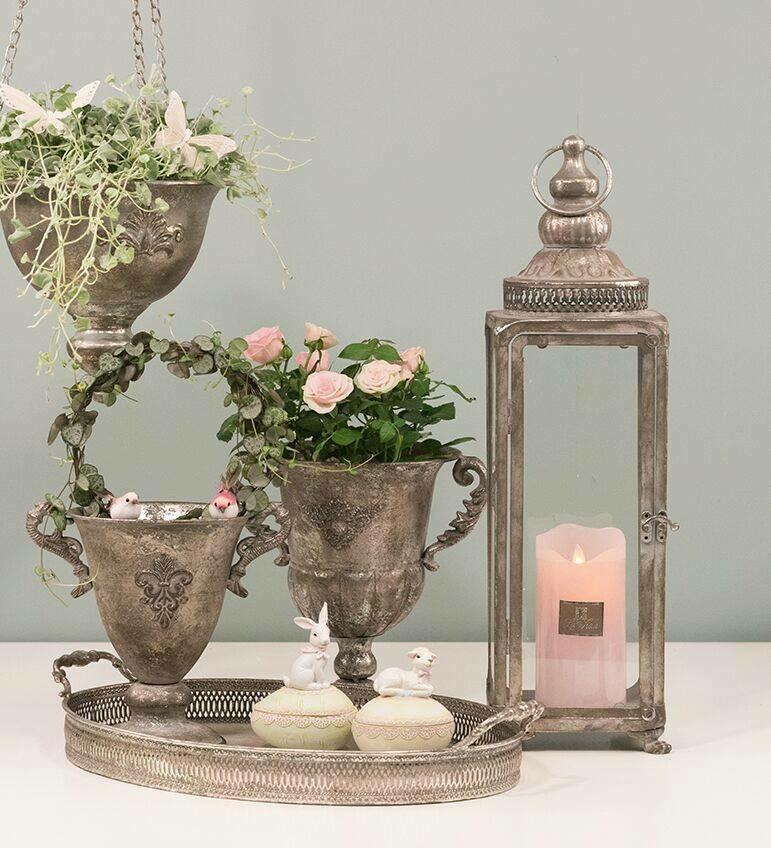 firkantet lanterne Antik sølv