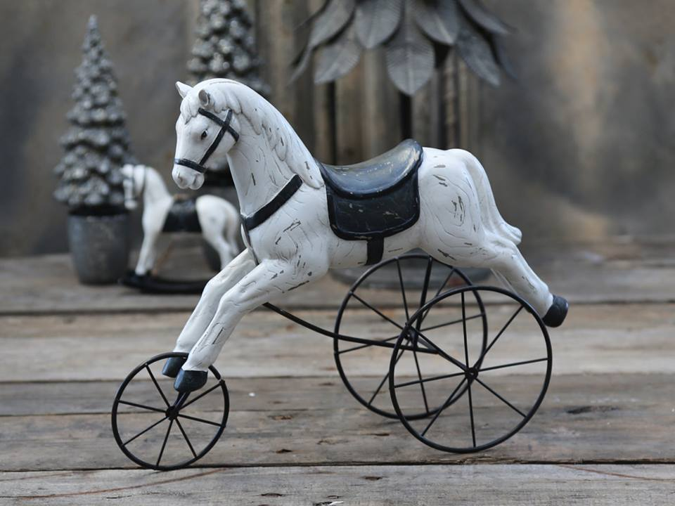 Vintage hest på hjul H28L34B11 cm