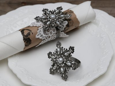 Køkken Servietring, stjerne m. perler