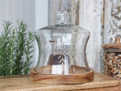 Køkken glasklokke m. bund i mangotræ