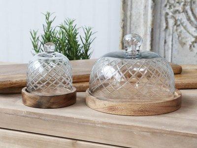 Køkken Glasklokke med bund i mangotræ H14/Ø18 cm.
