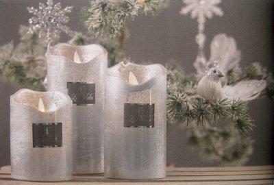 Led lys m. timer Sølv metallic H14,2 cm