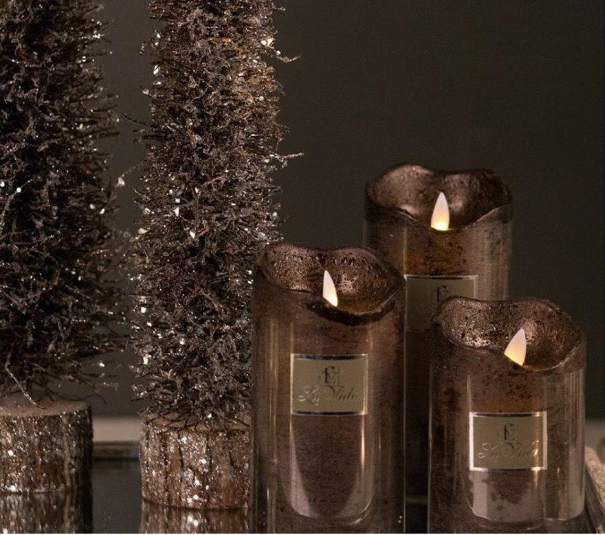 Led lys m. timer brun metallic H16,7 cm