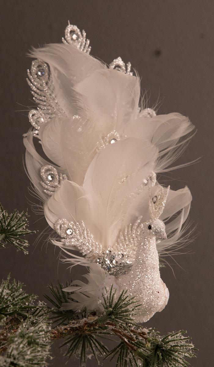Deko Påfugl hvid m. hale opad H18 cm