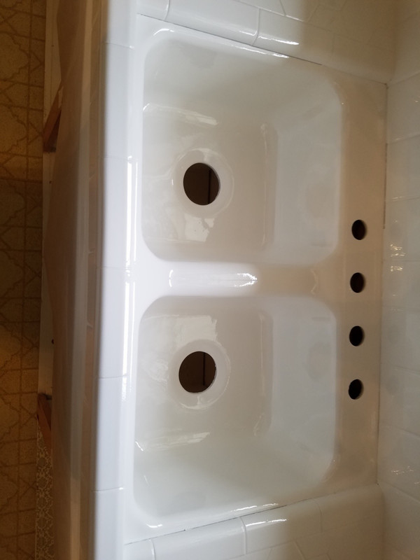 Kitchen Sink In Liquid Porcelain Fresh Baked Porcelain Look and Feel