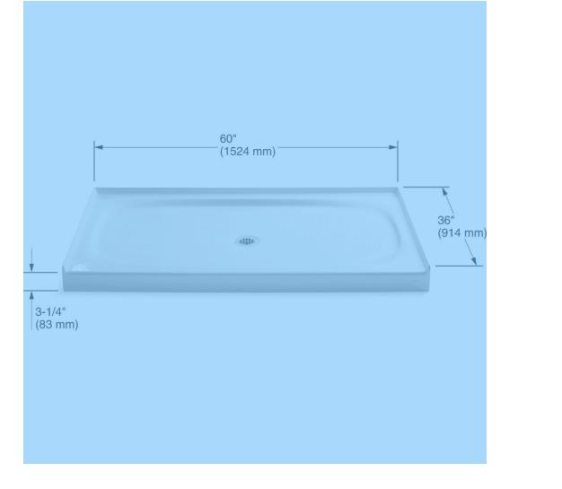 """Kohler K-9055-0 Salient 60"""" x 36"""" Single Threshold Shower Base with Center Drain"""