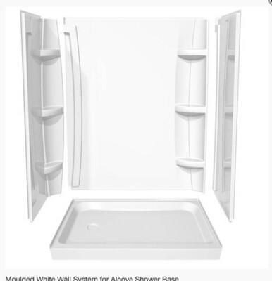 Moulded White Wall System for Alcove Shower Base