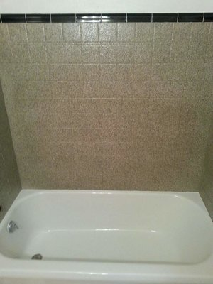 Stone Fleck Tile Wall Refinishing 3 Walls
