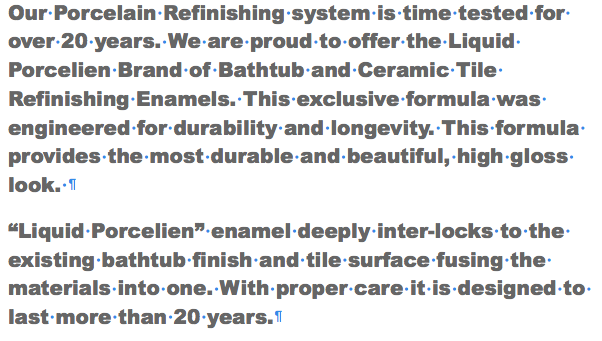 The Liquid Porcelain Tub and Tile Rejuvenation System