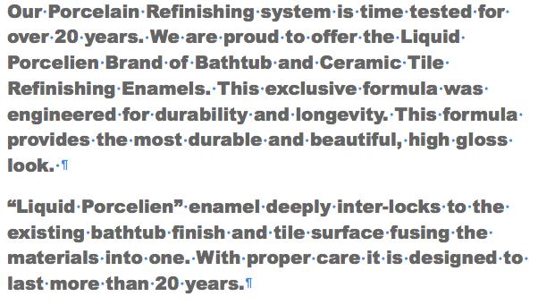 The Liquid Porcelain Tub and Tile Rejuvenation System