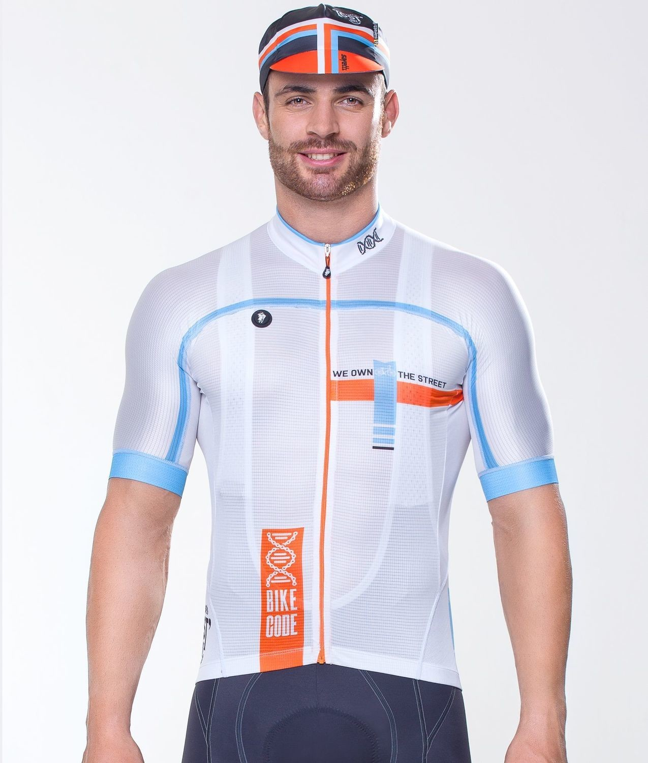 Short Sleeve Jersey - Bike Code White Orange