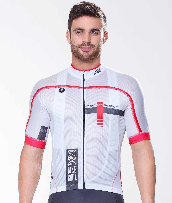 Short Sleeve Jersey - Bike Code White Gray