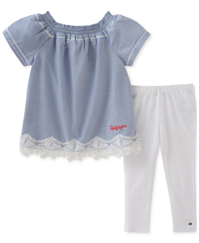 6cbe0c4fc383a 2-Pc. Lace-Trim Tunic & Leggings Set, Baby Girls