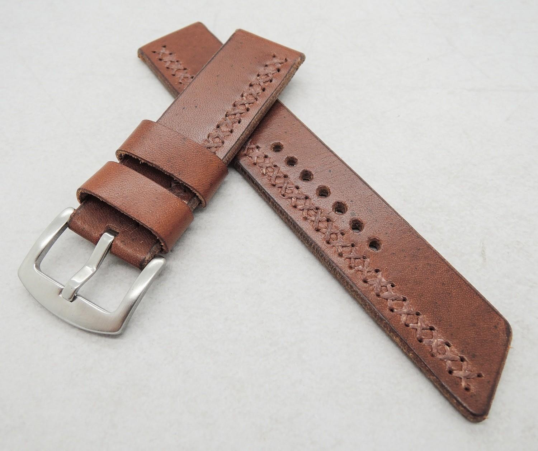 22mm wide chestnut brown cross-stitched strap