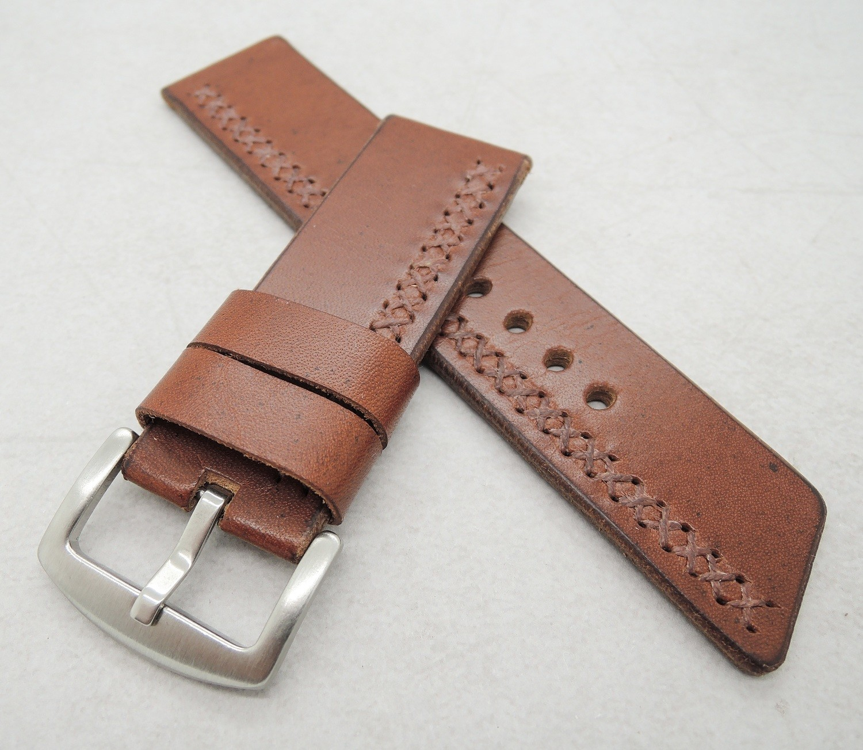 26mm wide chestnut brown cross-stitched strap