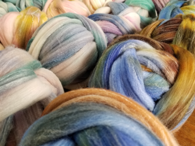 Merino/Linen 90/10 Dyed Top 4 oz/ 2 balls