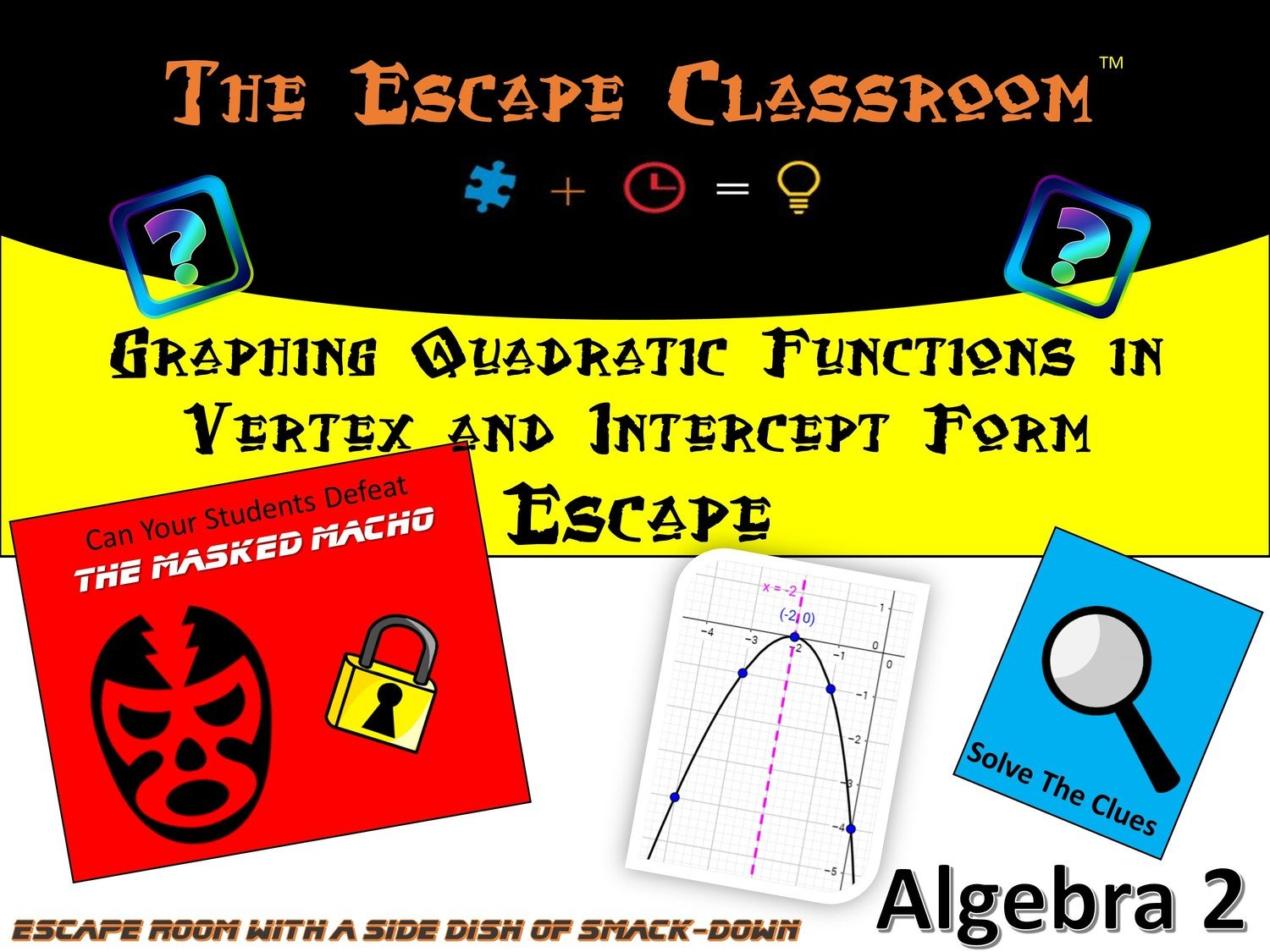 Workshops the escape classroom algebra 2 graphing quadratic functions in vertex form and intercept form escape school license falaconquin