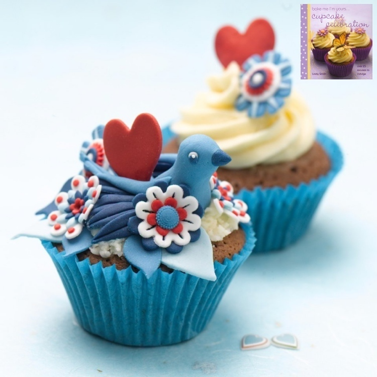 Paisley shapes used as leaves - Blue bird cupcake from Lindy Smith's 'Bake me I'm yours...cupcake' book