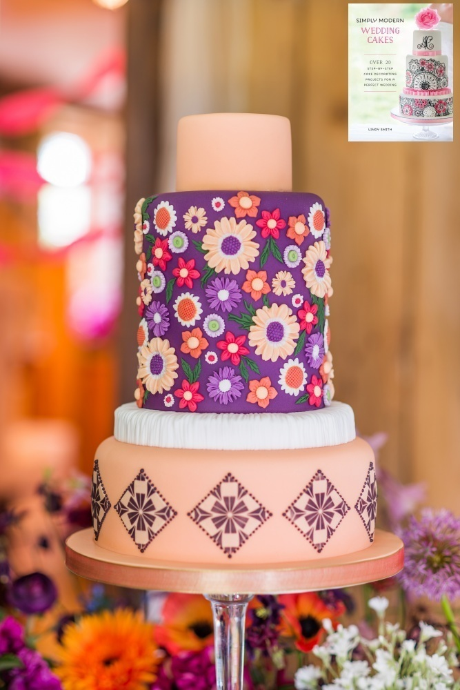 Bridal vogue wedding cake from Lindy Smith's book 'Simply Modern Wedding Cakes'