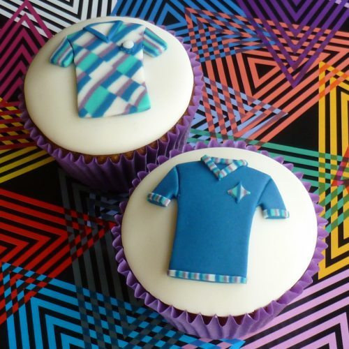 Tee-shirts on cupcakes created with Lindy's shirt sugarcraft cutter