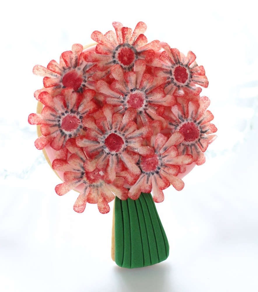 Wafer paper flower cookie bouquet for Mothers Day