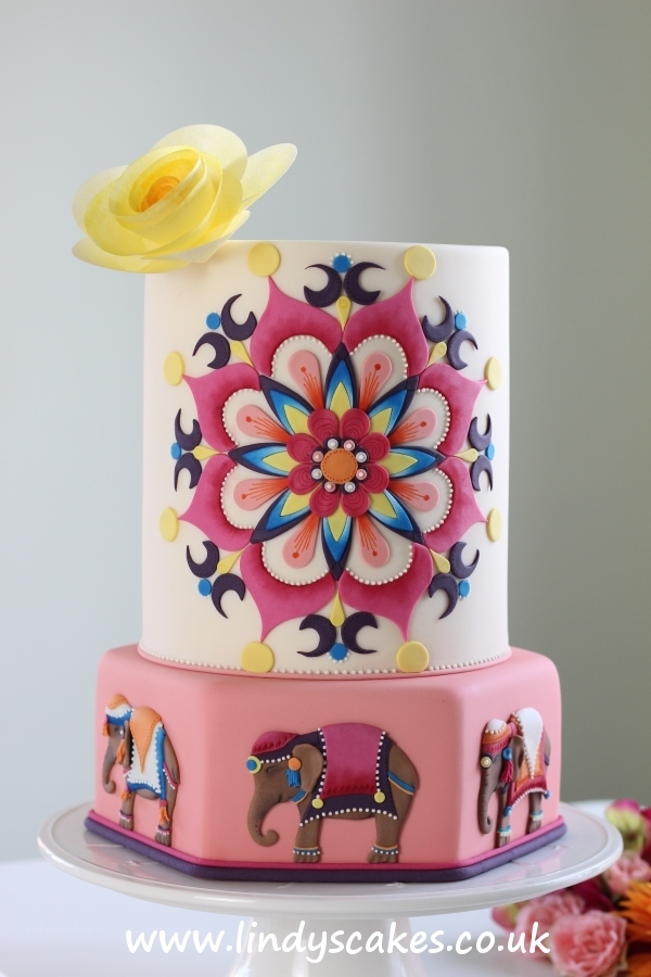 Lindy Smith's colourful Mandala cake with Asian elephant decorative detail