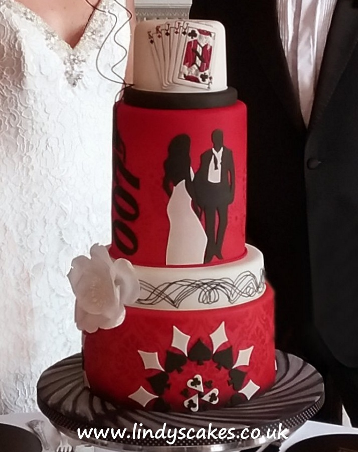 A 007 James Bond Casino Royale themed cake created for a wedding photoshoot by Lindy Smith